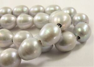 #43 11 to 12mm Half Strand Ringed Rice//Oval Large Hole White Freshwater Pearls