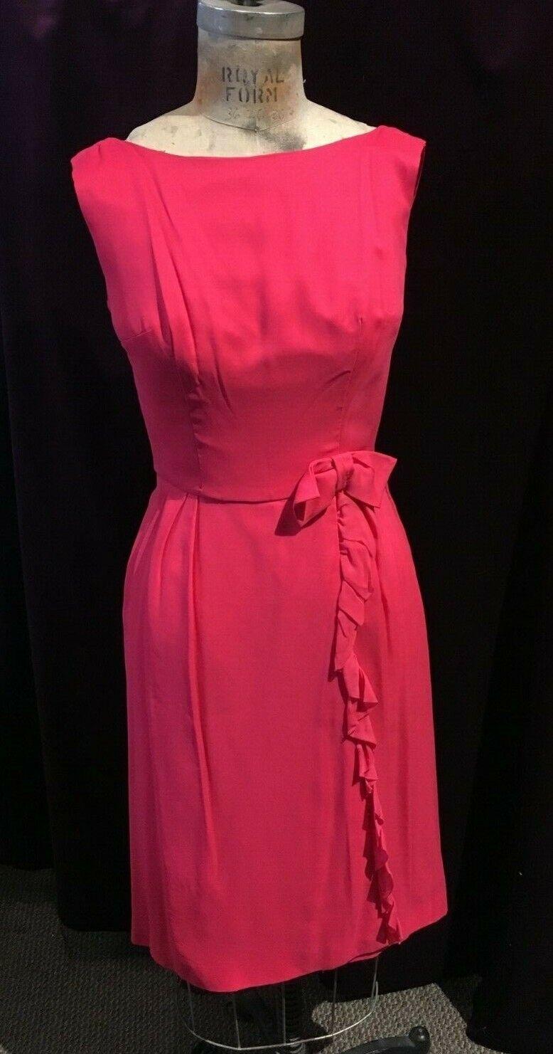 56d09b30731b Vintage Fuchsia Sleeveless Wrap Party Decorative Bow with Dress ...