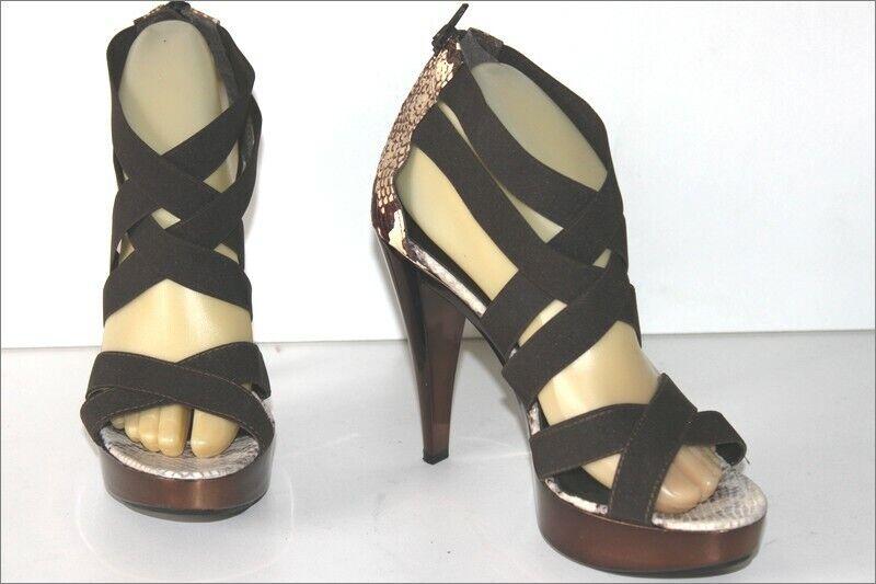 Andre sandals reptile print leather high heels t elastiquées 39 ttbe