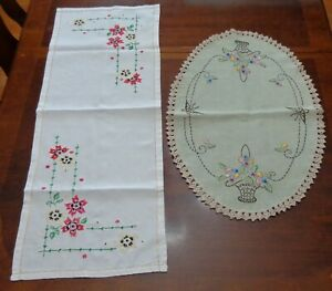 Vintage-Mixed-Lot-of-2-Linen-Dresser-doily-dust-scarfs-Hand-Embroidered-Florals