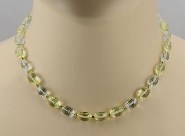 Quarz-Kette - Lemonquarz und Grüner Amethyst Halskette für Damen 42,5 cm