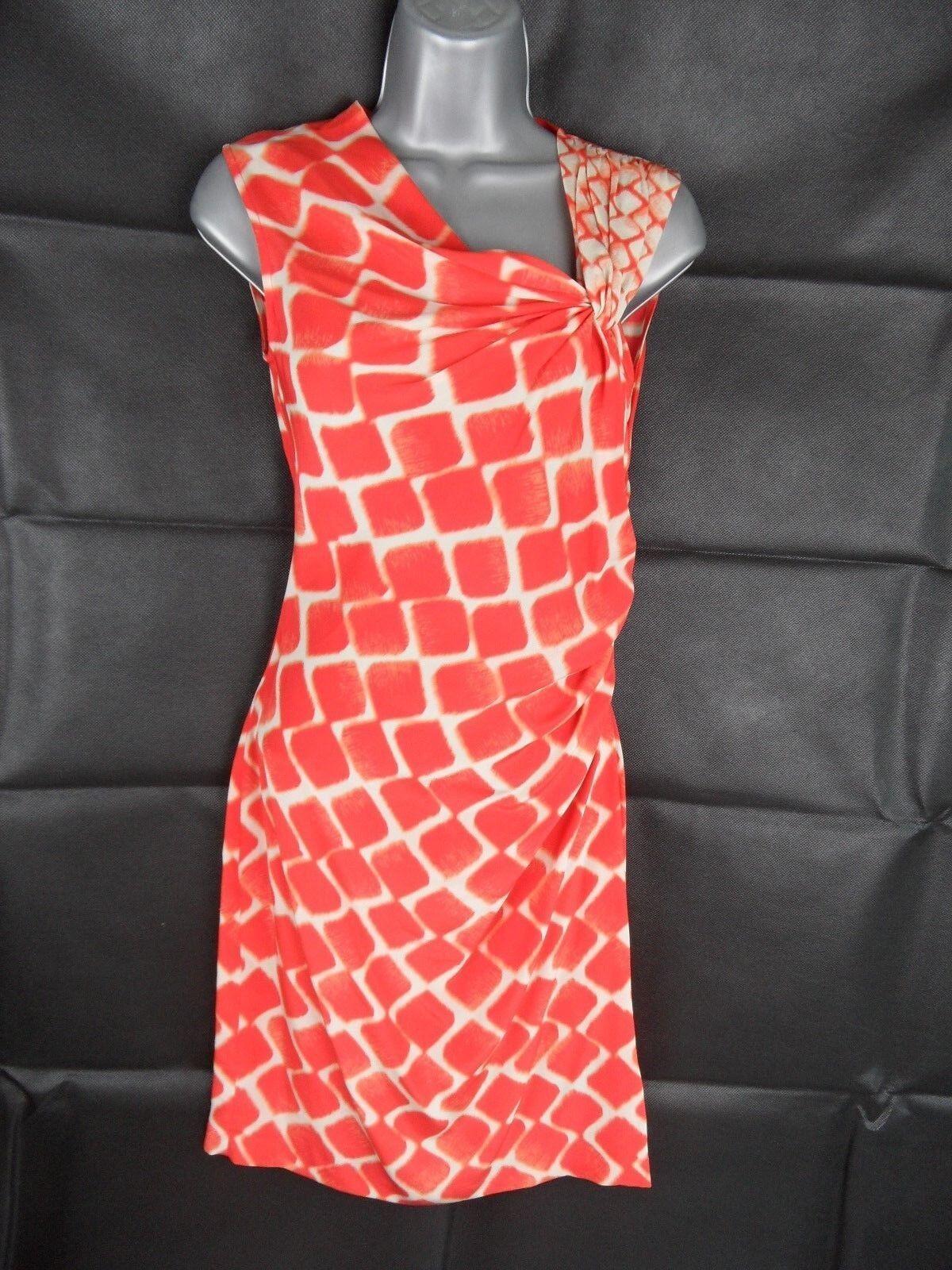 KENNETH COLE Silk Dress Size US 0 orange Giraffe Print Midi Length Evening