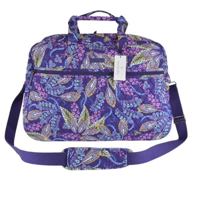 NEW Vera Bradley BATIK LEAVES Paisley Print Cotton Medium Traveler  Weekender Bag 318c99dca5330