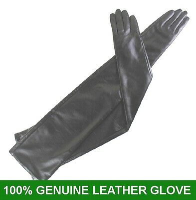 70cm Black 100/% Genuine leather Long Opera Gloves Evening Gloves 27.5inches
