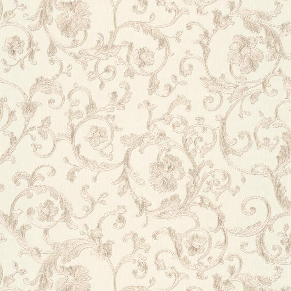 343263 - Versace Antique Vintage Florals White Grey AS Creation Wallpaper