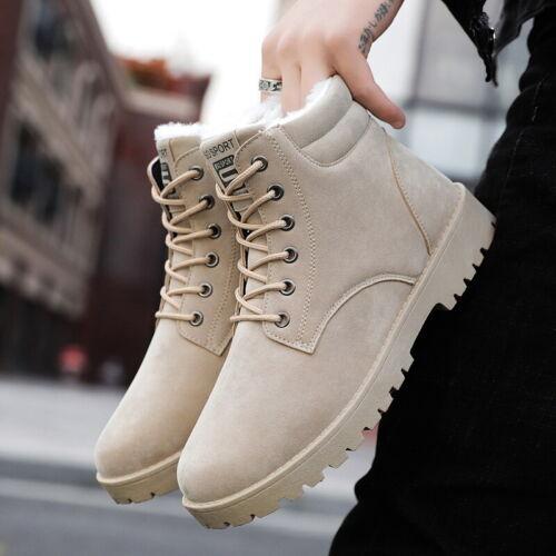 Winter Mens Plus Velvet Warm Non Slip Combat Boots Snow Casual Sports Shoes Walk