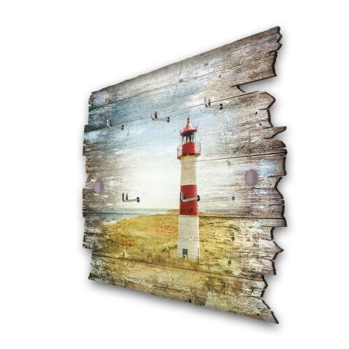 Leuchtturm Rot Schlüsselbrett Hakenleiste Landhaus Shabby chic aus Holz 30x20cm