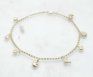 Adjustable-Multi-Charm-Rolo-Chain-Ankle-Bracelet-Anklet-Real-10K-Yellow-Gold