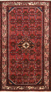One-of-a-Kind-Vintage-Traditional-Hamedan-Persian-Hand-Knotted-3x6-Red-Wool-Rug