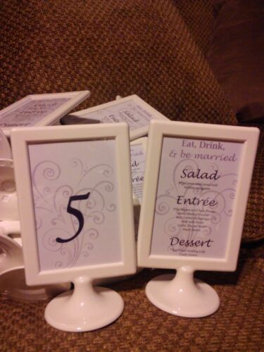 10 WEDDING Name Table Number Menu Place Card Holder WHITE Photo Frame 10x15C