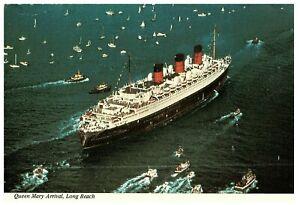 Cunard-Line-R-M-S-Queen-Mary-Arrival-to-Long-Beach-Harbor-CA-Postcard-1967