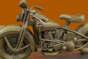 Signed-Original-Hot-Cast-Harley-Davidson-Motorcycle-Bronze-Sculpture-Statue-Gift