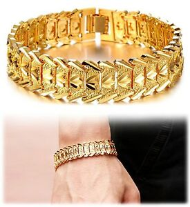 Suyi Men S 18k Gold Plated Link Bracelet Classic Carving