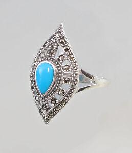 9927110 925er Silber Türkis-Ring Markasiten Gr.59