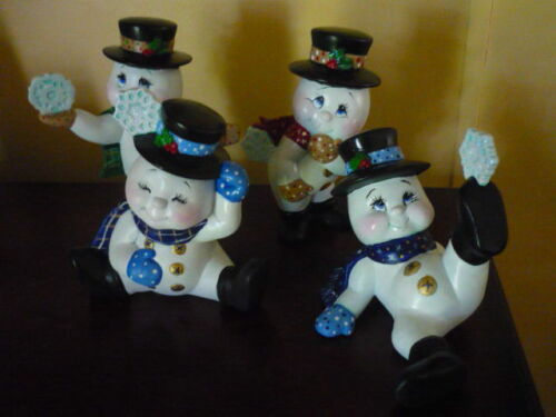 Ceramic 4 Snowmen Ready to Paint