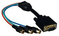 Premium 3 Rca Female Rgb To D-sub 15-pin Vga Video Adapter Cable - 1ft