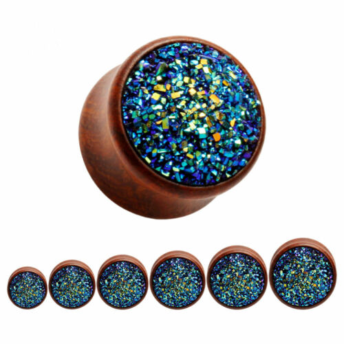 BLUE GLITTER Wooden Ear Plugs Piercing Jewellery Stretchers Tunnels Timber PL110