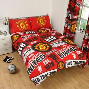 Manchester-United-FC-039-Empiecement-039-Housse-de-Couette-Double-Neuf-Man-Utd-Chambre