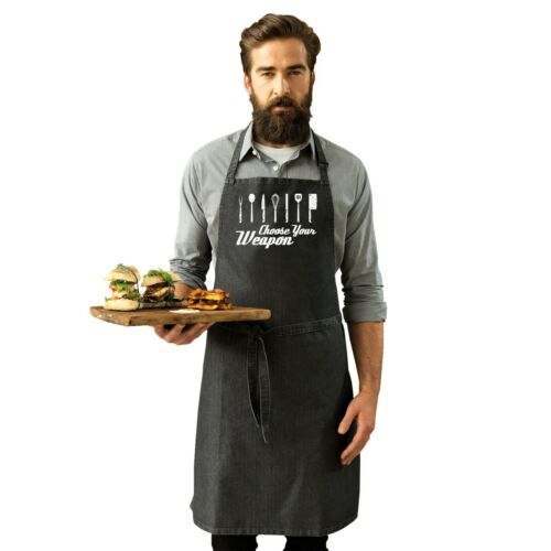 Choose Your Weapon Funny Joke BBQ Barbecue Adult Kitchen Cooking PREMIER APRON