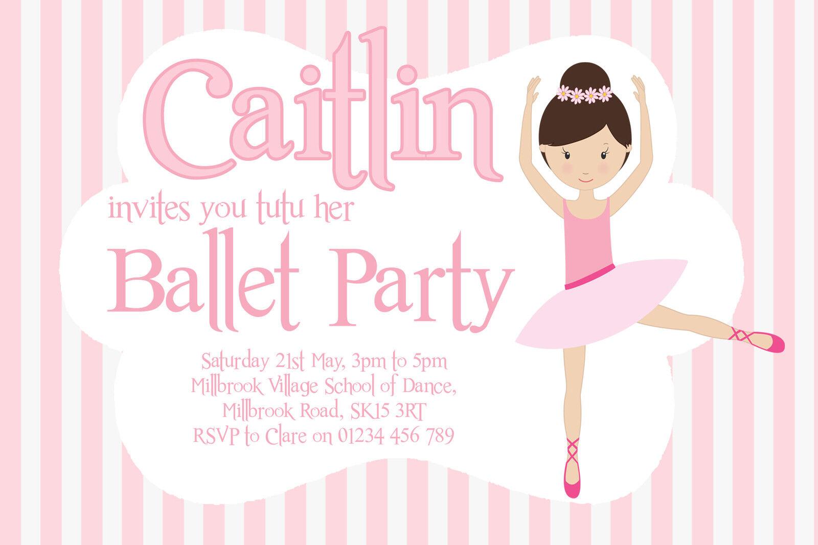 10 Personalised Girls Ballet Party Invitations - Ballerina Birthday ...