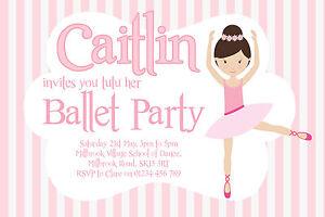 10 Personalised Girls Ballet Party Invitations Ballerina Birthday