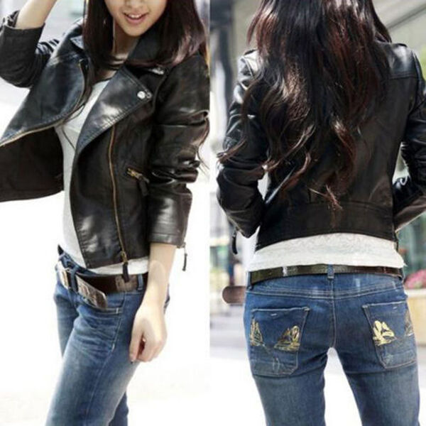 Women Slim Fit Punk Rock Biker Motorcycle PU Leather Zipper Jacket Coat Suit Top