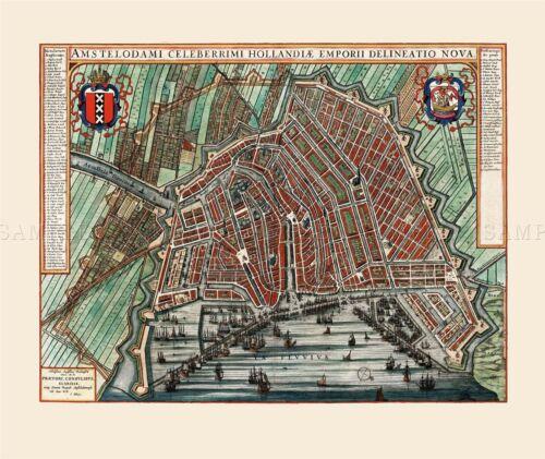 MAP ANTIQUE 1649 BLAEU AMSTERDAM CITY PLAN OLD LARGE REPRO POSTER PRINT PAM0040
