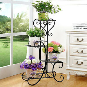 Metal Outdoor Indoor Pot Plant Stand Garden Decor Flower Rack
