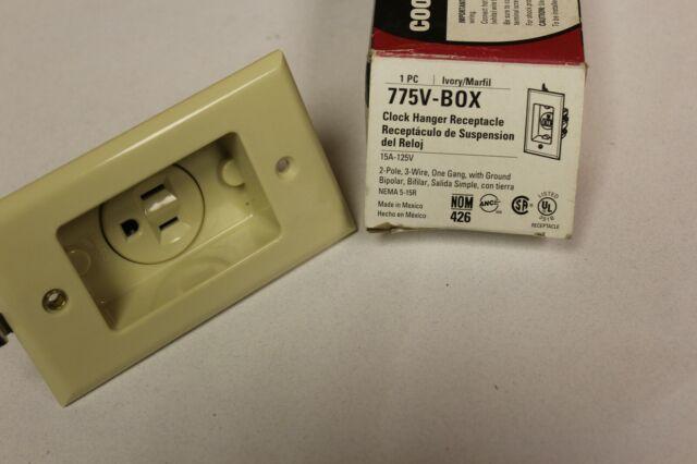 Cooper Single Recessed Receptacle w// Clock Hanger White 125-Volt Resistant 15A