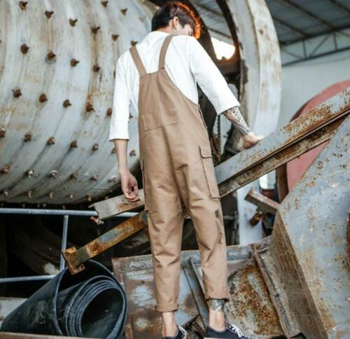 S-4XL Mens Casul Loose Fit Cargo Overalls Bib Pants Suspender Trousers Braces