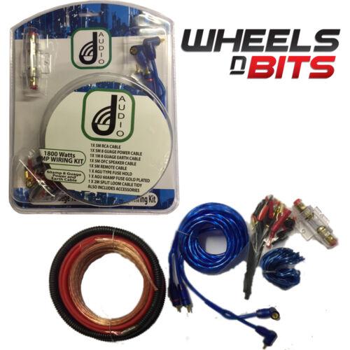 J-audio 1800w coche amplificador de Audio RCA 8 cables de calibre 60amp Fusible Agu Kit Completo