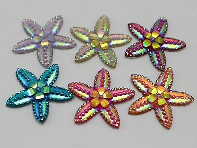 20 Mixed Color Flatback Resin Star Dotted Rhinestone Cabochon No Hole 28mm