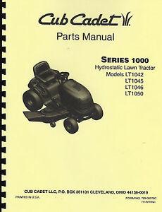 cub cadet lt1042 lt1045 lt1046 lt1050 lawn tractor parts manual rh ebay com Cub Cadet LTX 1046 1046 Cub Cadet Riding Mowers
