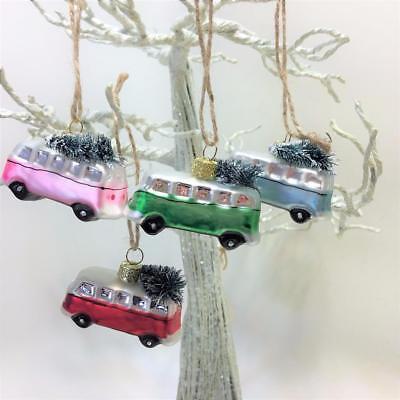 Volkswagon Retro VW  Christmas Bus Ornament Set 4 Bottle Brush Tree Beetle Car