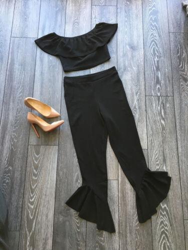 NEW Bardot Crop Top and Frill Hem Pants Co-Ord Set Black