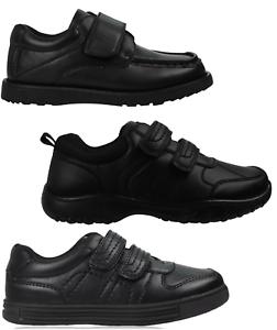 Boys-Black-School-Shoes-PU-Leather-Hook-amp-Loop-Dress-Formal-Easy-On-UK-Size-10-5
