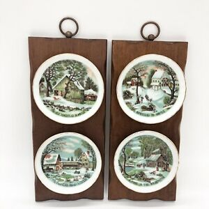 VTG-Currier-amp-Ives-Homestead-In-Winter-Collector-Plates-on-Wood-Plaques-Enesco