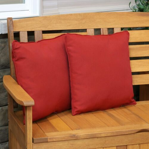 16-Inch Square Red Sunnydaze 2 Indoor//Outdoor Patio Throw Pillows