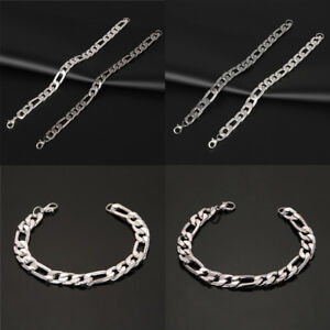 Punk-Mens-Women-Stainless-Steel-Plated-Bracelet-Bangle-Wristband-Cuff-Chain-Link