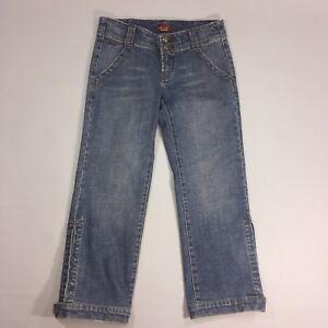 Dish-Denim-Womens-Jean-Size-27-Split-Ankle-Button-Stretch-Cropped-Capri