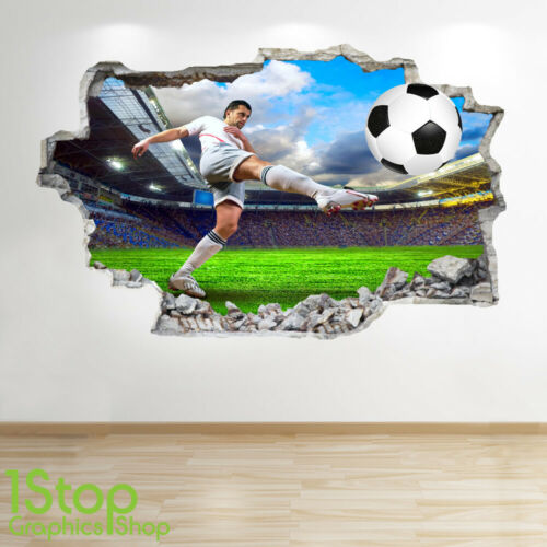 Enfants Autocollant Garçons Football Mural 3d Look Maison sdtQxrBohC