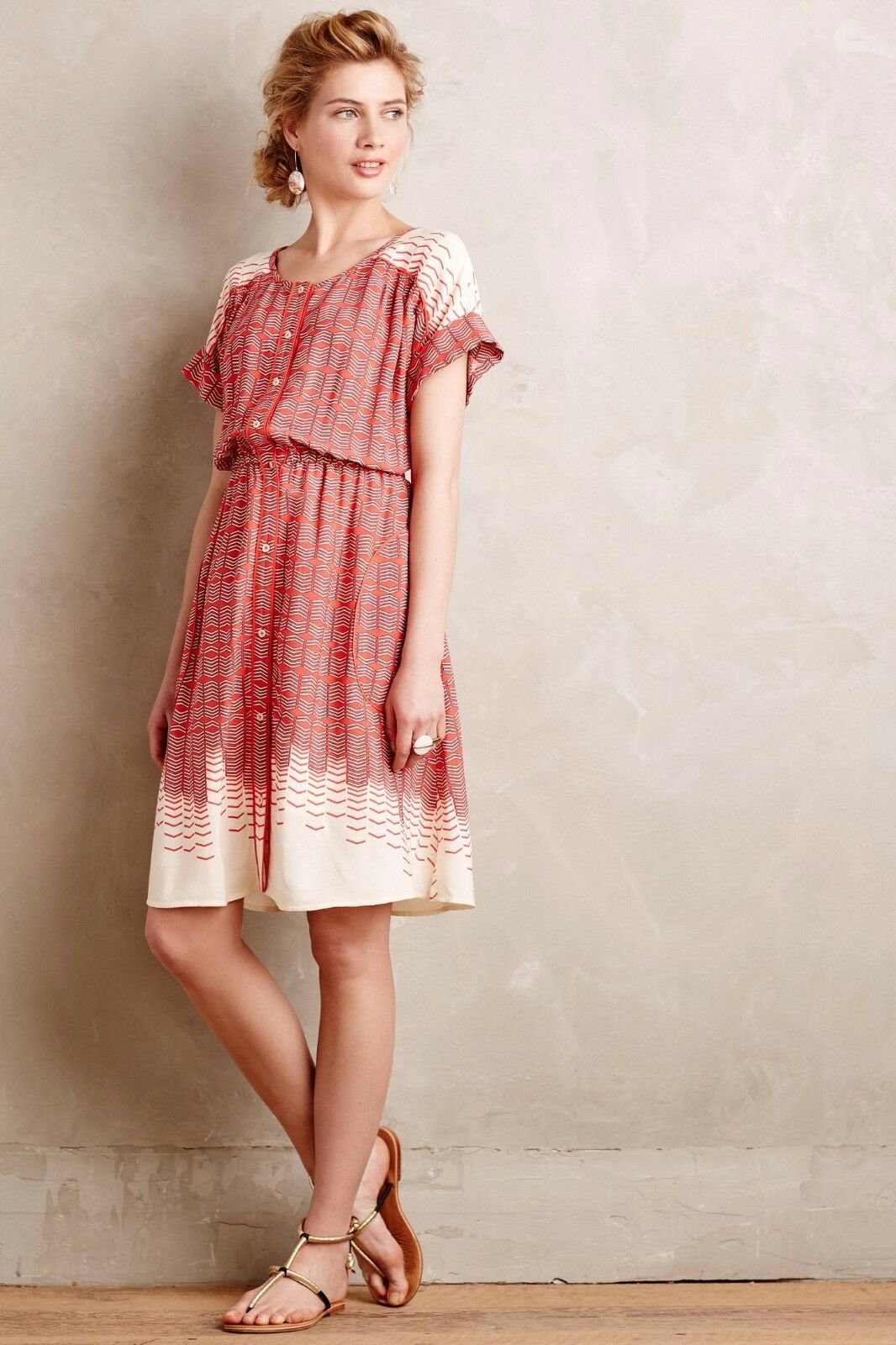 NWT Anthropologie Veronia Shirtdress by Maeve, L, Red, Adorable Adorable Adorable Loose Fit d2fb0c