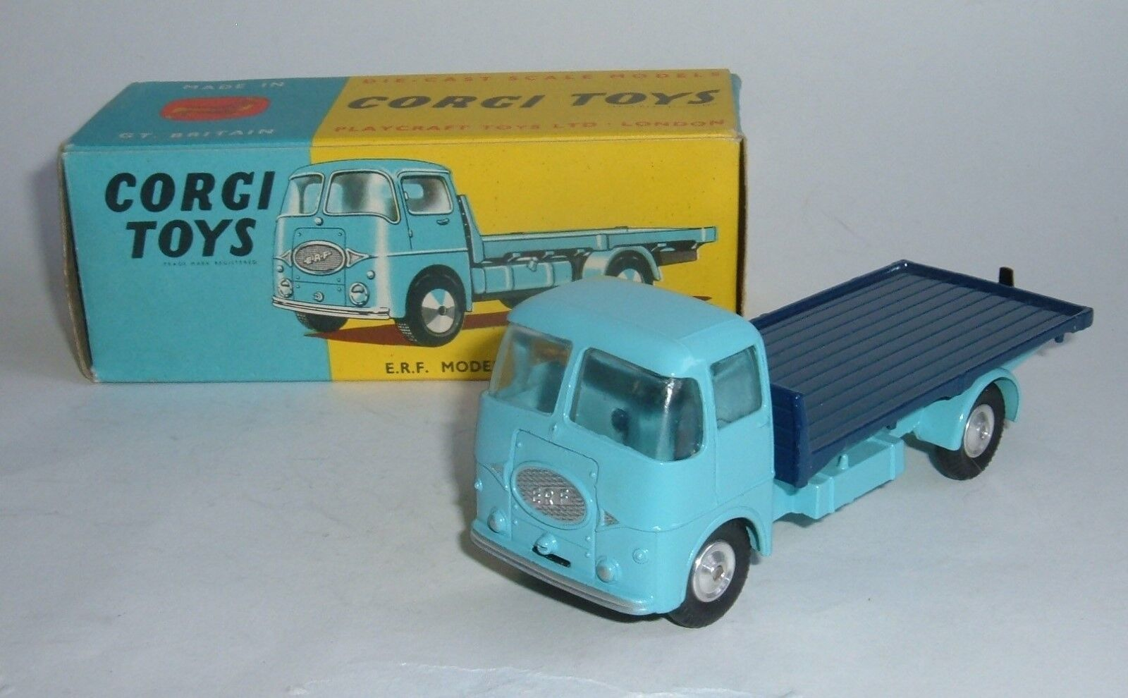 Corgi Toys No. 457,Two Tone bluee ERF Model 44G. Platform Lorry, - Superb Mint.