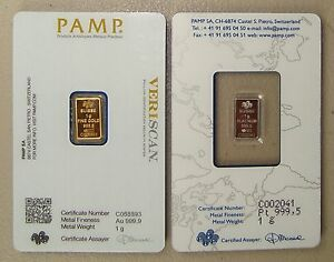 Details about 1 Gram Pamp Suisse Gold Bar & 1 Gram Pamp Suisse Platinum Bar
