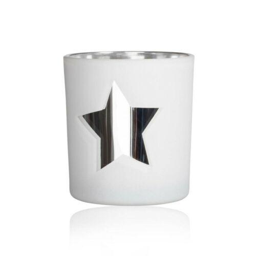 8cm D 7cm white weiß Glas Sandra Rich WA Teelichthalter MIRROR STAR STERN H