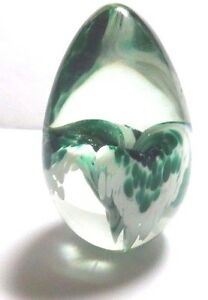 GLASS EGG PAPER WEIGHT CLEAR W WHITE & GREEN BLUE FLOWER LILY