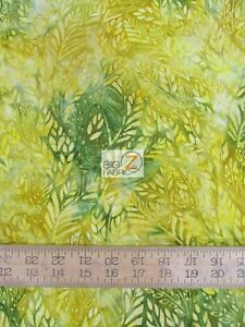 HEAVENLY WIND LEAVES GREEN BY ANTHOLOGY FABRICS BATIK COTTON FABRIC BTY 13085