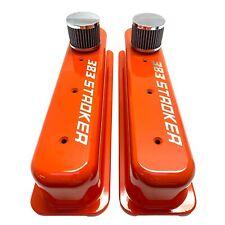 Small Block Chevy 383 Stroker Tall Vortec Center Bolt Valve Covers Orange