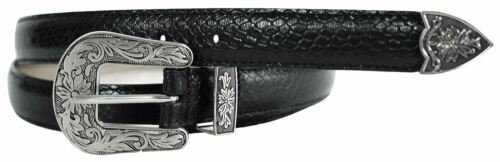 New Ladies Snake Skin Textured Stitched Leather Tapered Edge Floral Buckle Belts