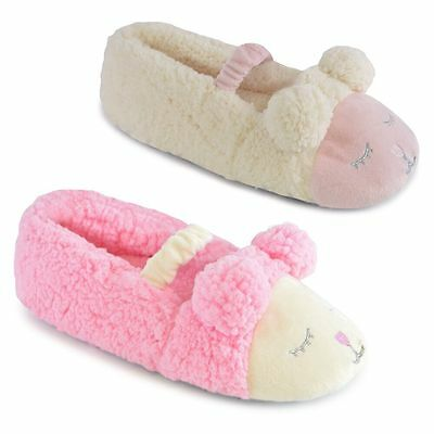 Girls Sleepy Sheep Cosy Coral Fleece Ballerina Slippers In 2 Colours & 4 Sizes